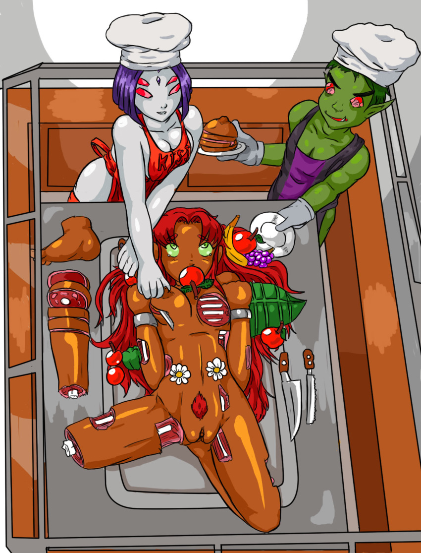 beast boy and naked starfire Fred bear from five nights at freddy's
